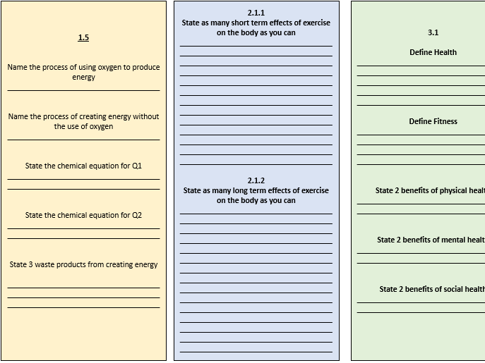 GCSE PE Revision: Energy Systems, Short and Long Term effects of exercise and Health and Fitness