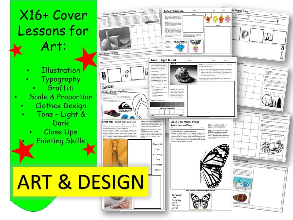 Art Worksheets x16+
