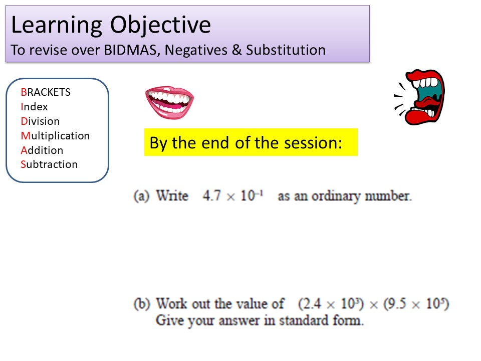 GCSE 1-9 Foundation Negatives & Substitution Revision