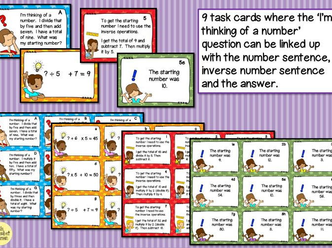 I'm thinking of a number - Using the inverse lesson plans and activities