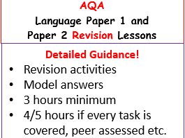 AQA GCSE English Language paper 1 and 2 Revision or Booster lessons