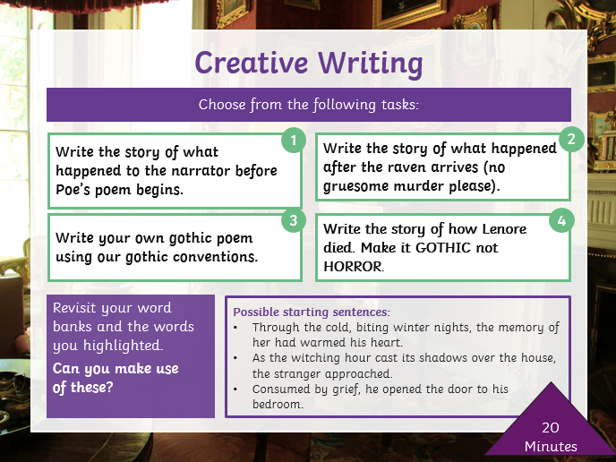The Raven, Gothic Poetry and Creative Writing (2 Lessons) for KS2/KS3/ESL/EAL Learners