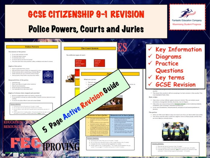 GCSE CITIZENSHIP 9-1  Revision guide (Police Powers, Court System, Juries, Racism in Britain) with E