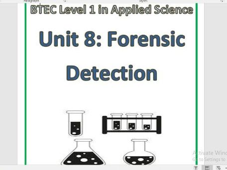 BTEC L1  Science Workbook  – Unit 8 + Murder Mystery