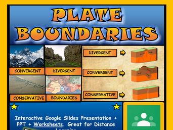 Plate Tectonics: Plate Boundaries: Google Slides, Distance Learning + Worksheet