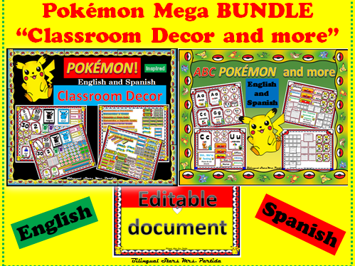 Pokemon POKÉMON Classroom Decor Mega BUNDLE Englsih & Spanish Mrs. Partida