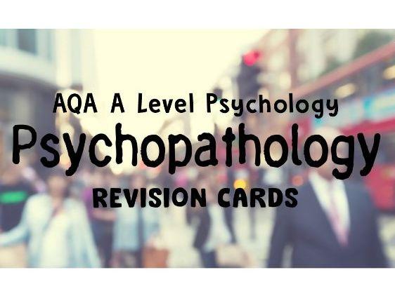 AQA A Level Psychology - Psychpathology Revision Cards