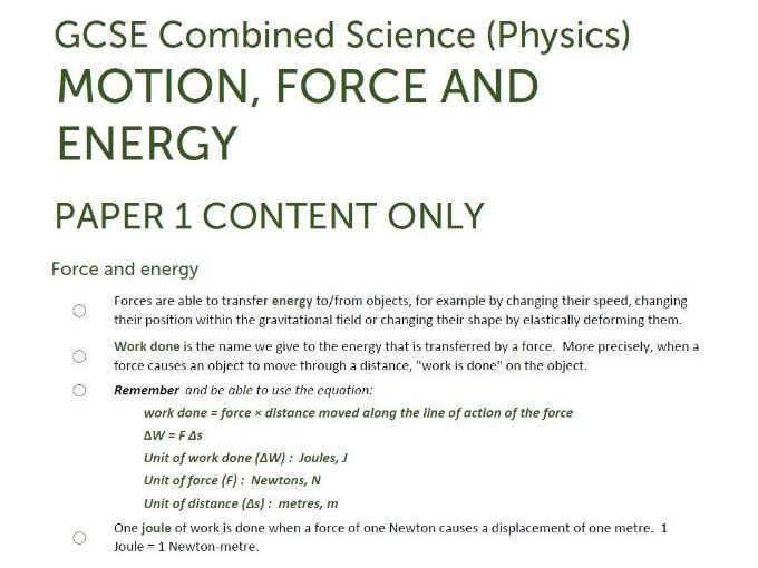 Paper 1 Extract of ENERGY/FORCES unit summaries/checklists for AQA GCSE Combined Science: Trilogy