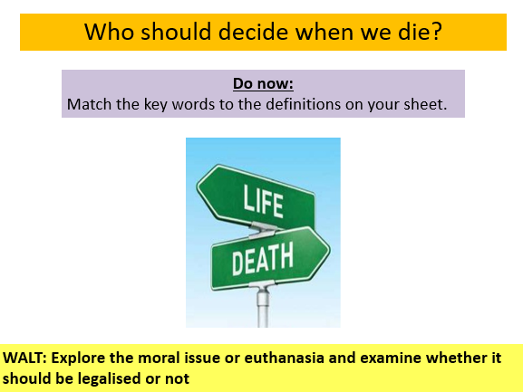Should Euthanasia be legalised?  Two lessons