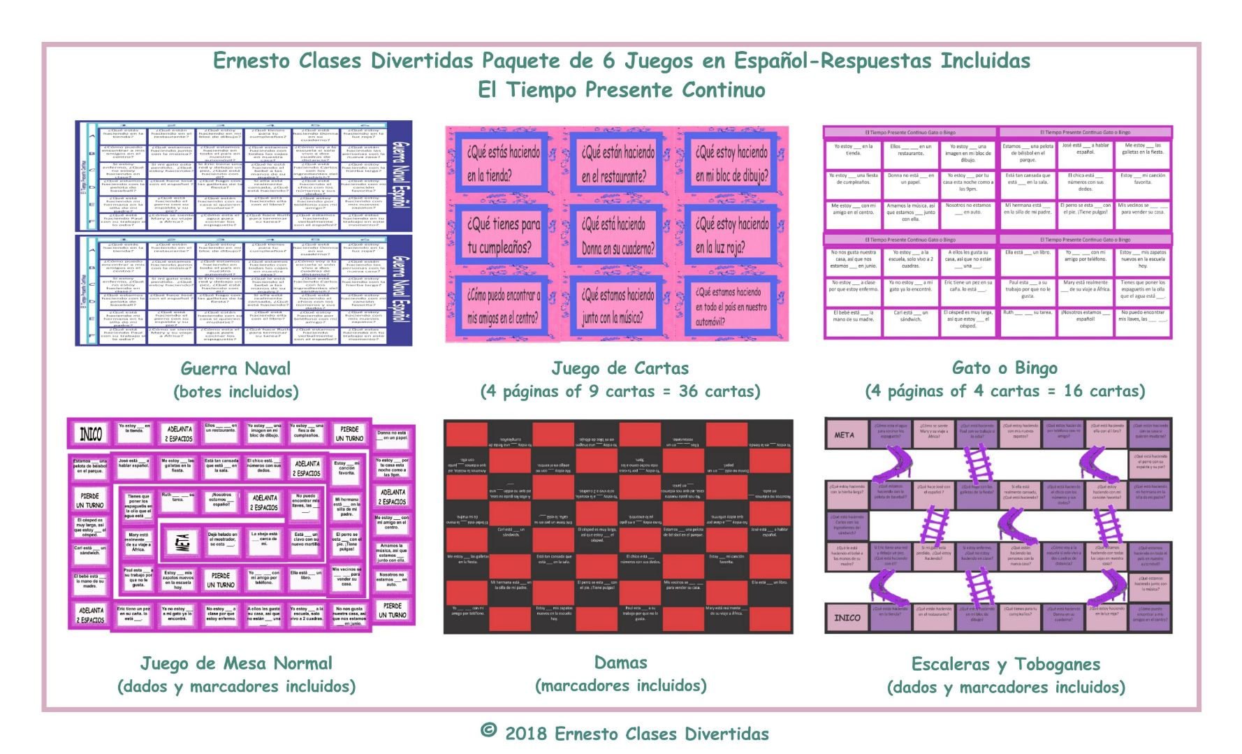 Present Continuous Tense 6 Spanish Game Bundle