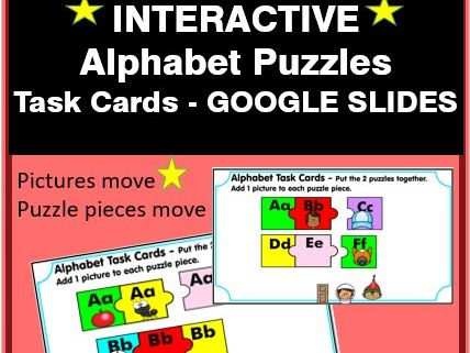 Interactive Alphabet Puzzles Task Cards - Google Slides - Distance Learning
