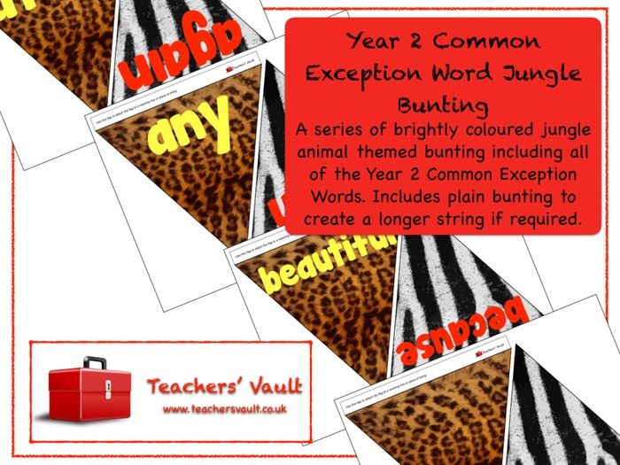 Year 2 Common Exception Word Jungle Bunting Display