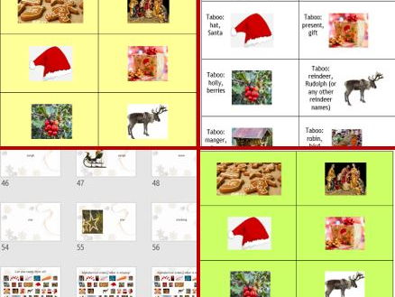 Christmas taboo, pairs game,  vocabulary presentation for Primary learners and beginners (e.g. ESL)