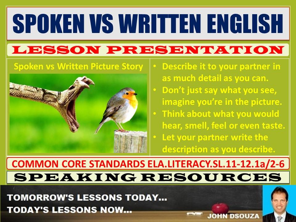 SPOKEN AND WRITTEN ENGLISH LESSON PRESENTATION