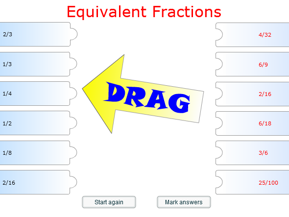 Starter/Plenary Game on Finding Equivalent Fractions.