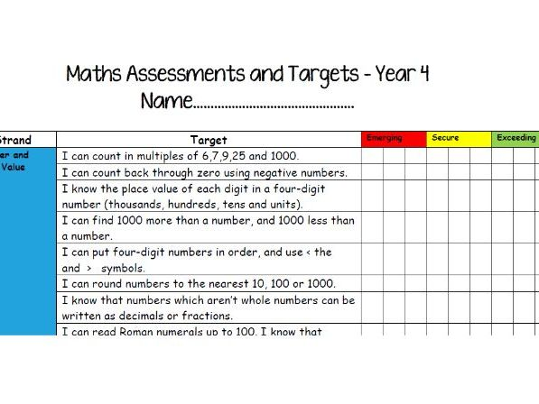Year 4 Assessment Checklists - Emerging, Secure, Exceeding