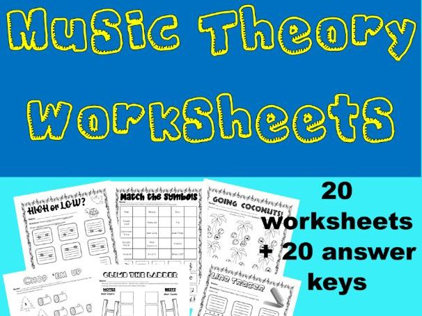 Music Theory Worksheets With Answer Key - Line, Note Value, Symbols, Treble