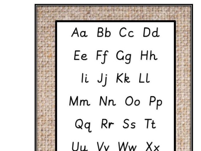 Hessian backed  Alphabet mat