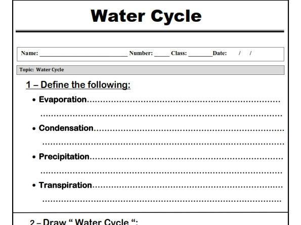 "Water Cycle "" Worksheet"""