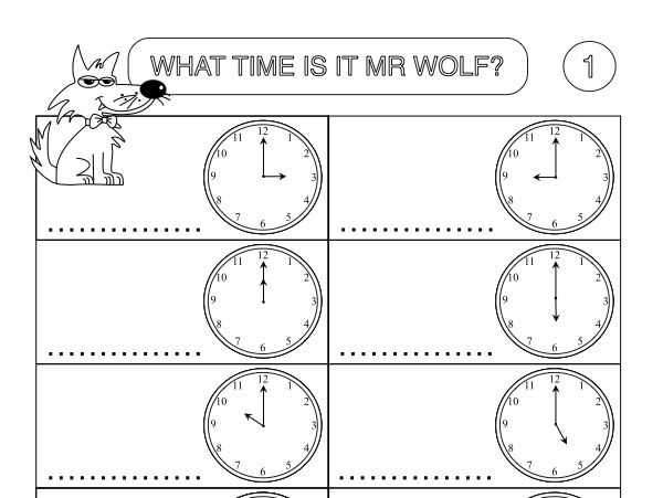 Primary Numeracy Worksheet Sample: Telling the Time