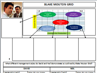 New A-Level Business: Year 1 Leadership Theories - Blake Mouton Worksheet