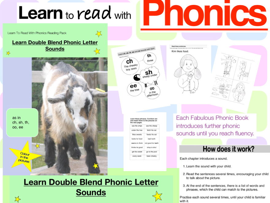 Learn Double Blend Phonic Letter Sounds As In Ch Sh Th Oo Ee Learn To Read With Phonics Pack By Guineapigeducation Teaching Resources Tes