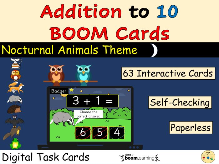 Addition to 10 BOOM Cards Distance Learning Digital Task Cards