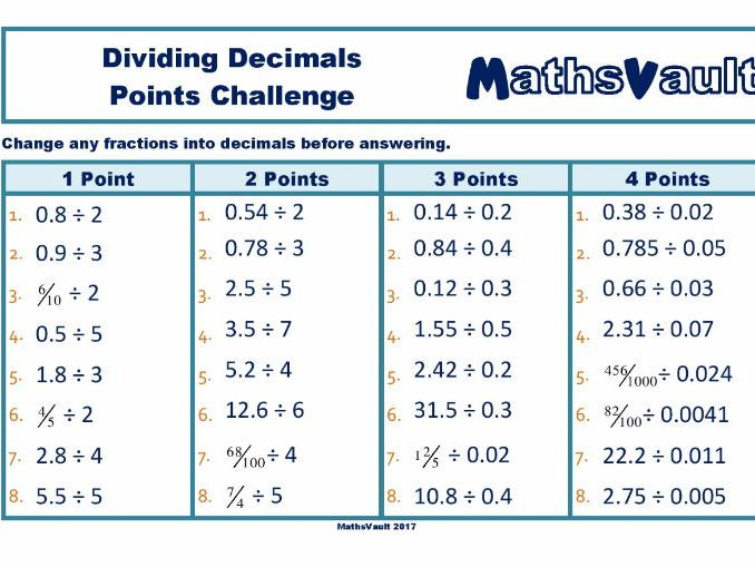 Dividing Decimals Points Challenge worksheet