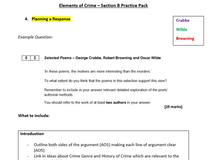 A Level English Literature Crime Essay Plan (Section B)