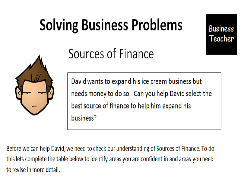 sources of finance   cover worksheet for gcse