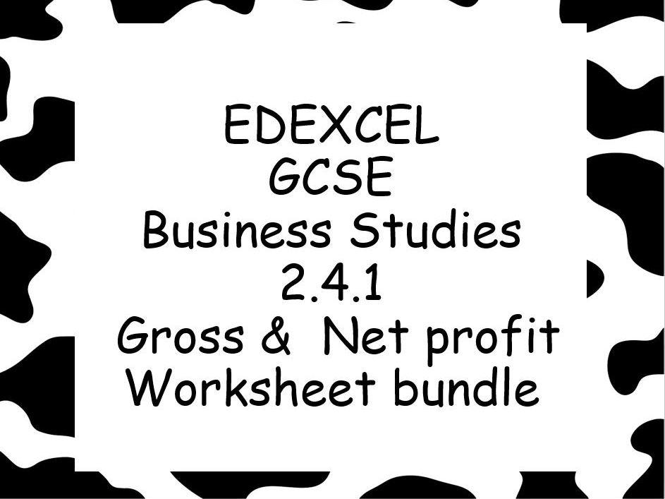 EDEXCEL GCSE Business Studies 2.4.1 Net and Gross profit FIVE worksheet bundle