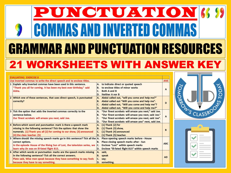 COMMAS AND INVERTED COMMAS - PUNCTUATION: 21 WORKSHEETS WITH ANSWERS