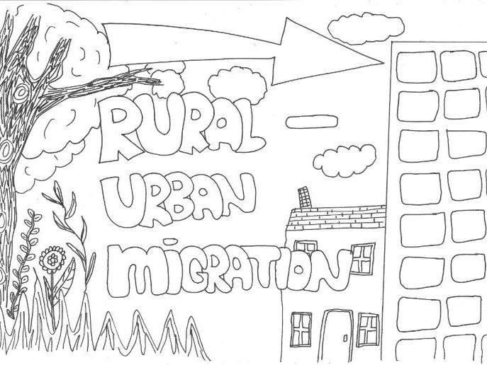 Rural-Urban Migration Revision Sheet for Geography (Colouring Page)