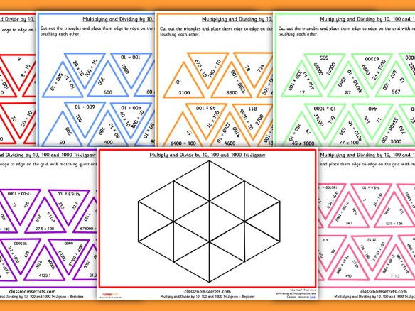 Year 5 Multiplying and Dividing by 10, 100 and 1000 Tarsia Game