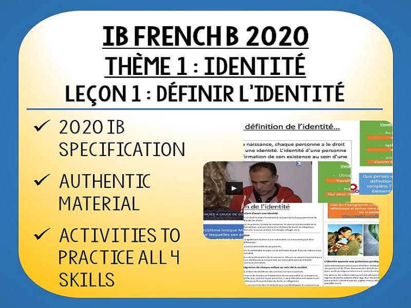 IB FRENCH B 2020 - Identité L1 - Qui suis-je