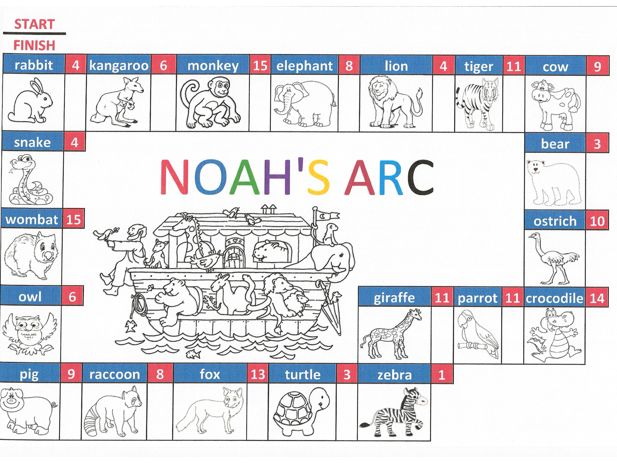 KS1 Addition Game Noah's Arc