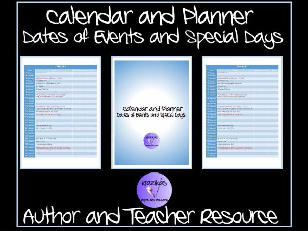 TES Authors' Calendar and Planner - Special Events and Days