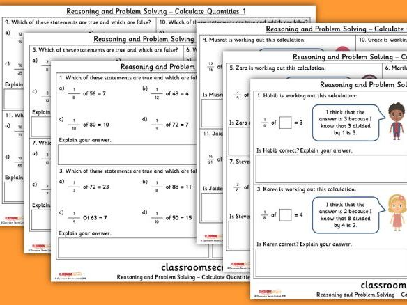 Year 4 Calculate Quantities Spring Block 3 Reasoning and Problem Solving Pack