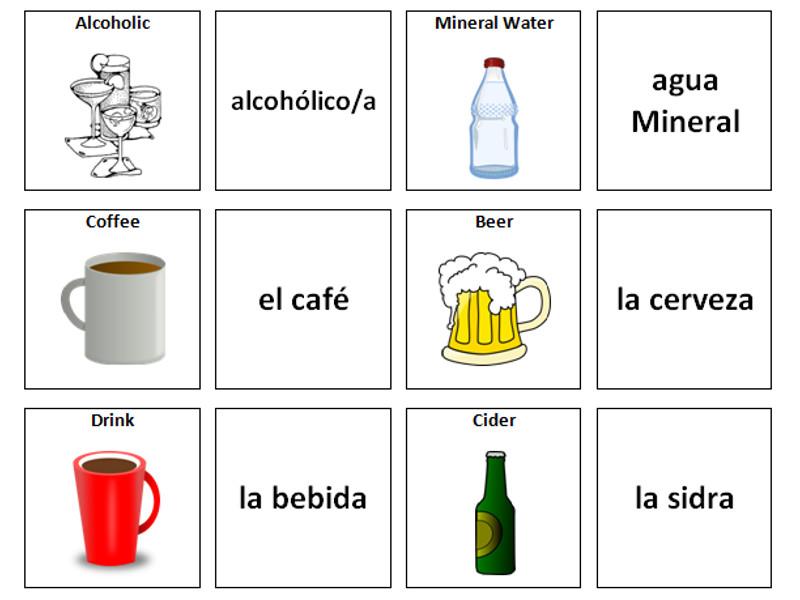 Drinks: Spanish Vocabulary Card Sort