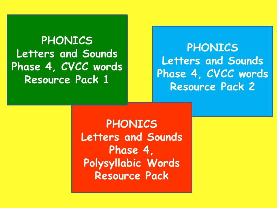 Three Phase 4 Letters and Sounds Phonics Resource Packs