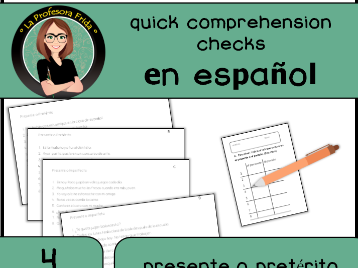 Spanish Verbs Comprehension Check: Presente o Pasado? 4 quick quizzes