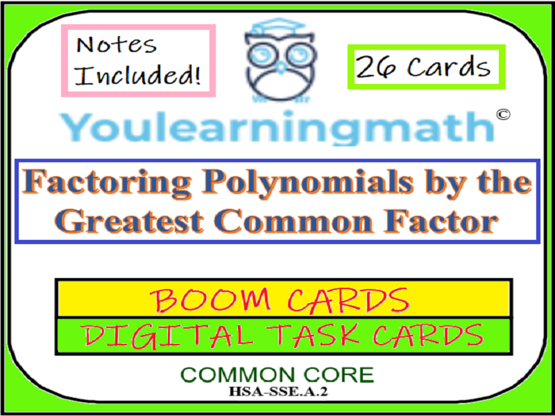 image regarding Printable Task Cards named Factoring by way of Largest Well-known Component- Electronic Increase Playing cards (+ 20 Printable Activity Playing cards)