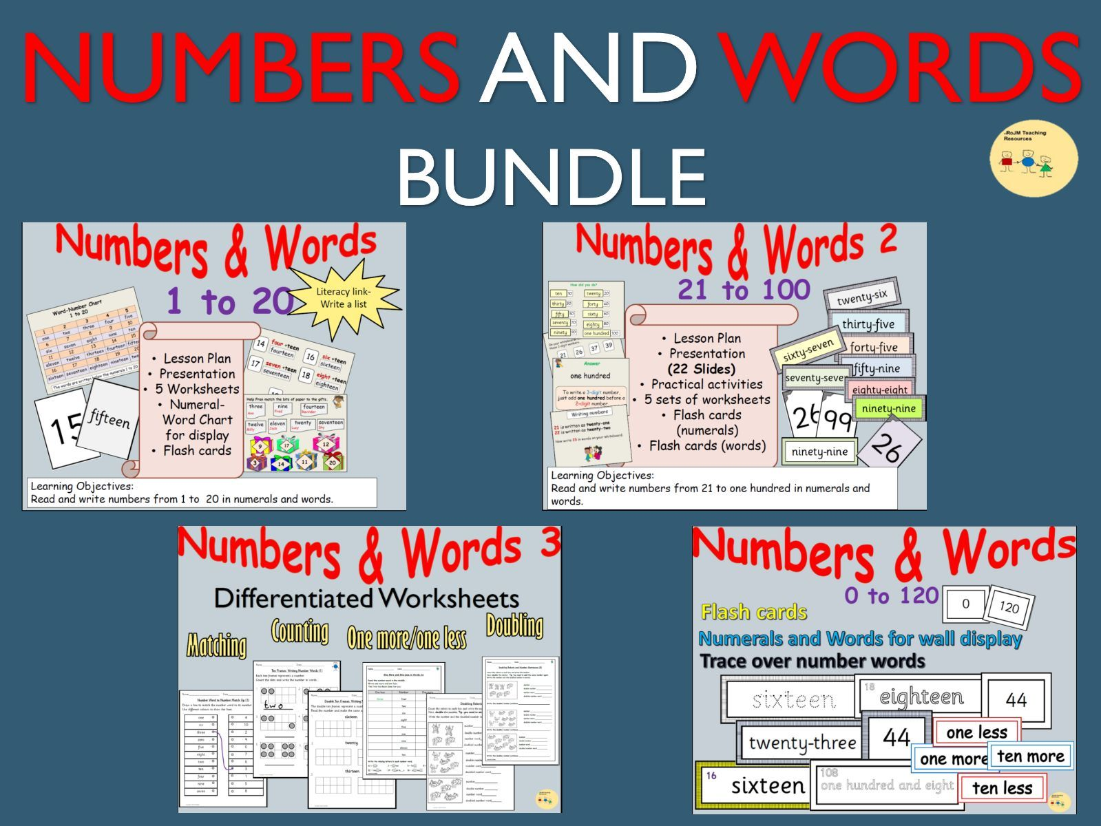 Numbers and Number Words, Lesson Plans, Presentations, Worksheets  on Listing, Counting, Doubling, Matching Up, Practical Activities BUNDLE