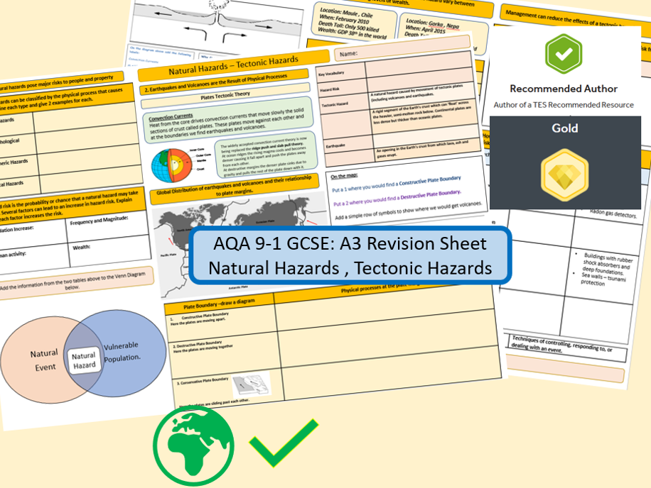 AQA 9-1 Double Sided Revision Sheet: Tectonic Hazards