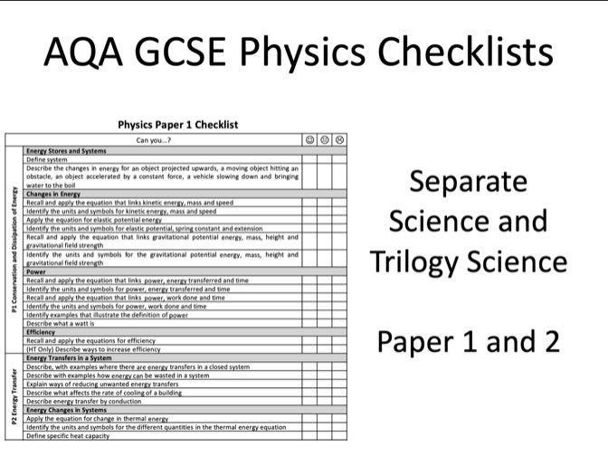 AQA GCSE Physics Exam Checklists