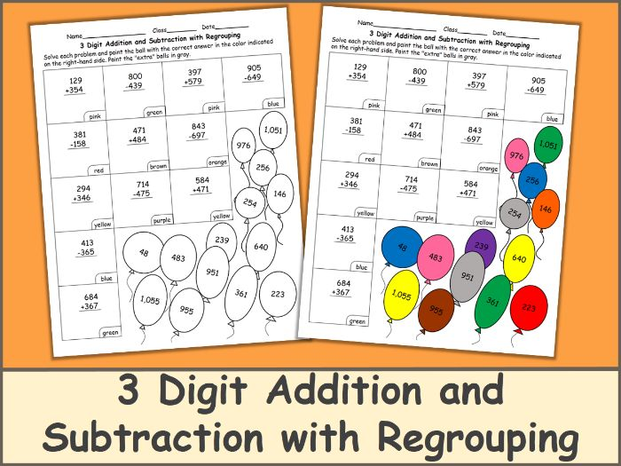 3 Digit Addition and Subtraction with Regrouping Color by Number