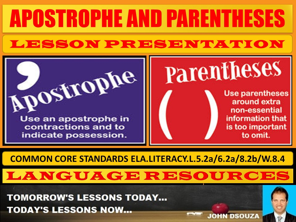 APOSTROPHE AND PARENTHESES LESSON PRESENTATION