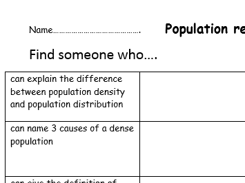 'find someone who' revision - human topics geography GCSE