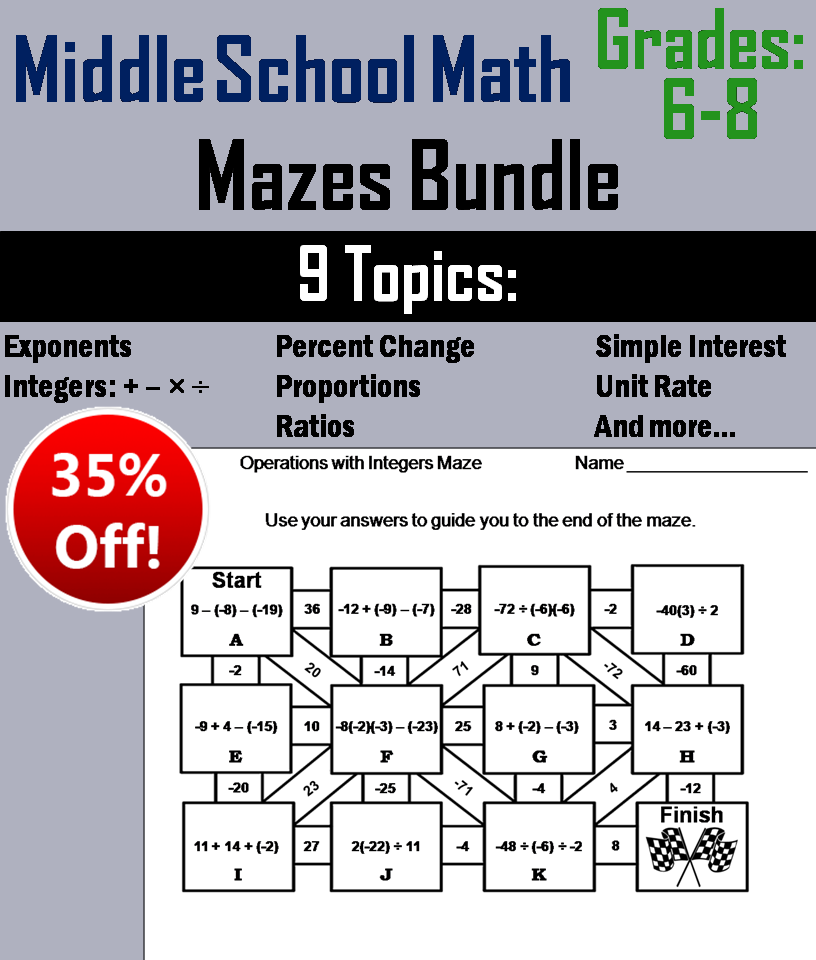 Middle School: 6th to 8th Grade Math Mazes Bundle