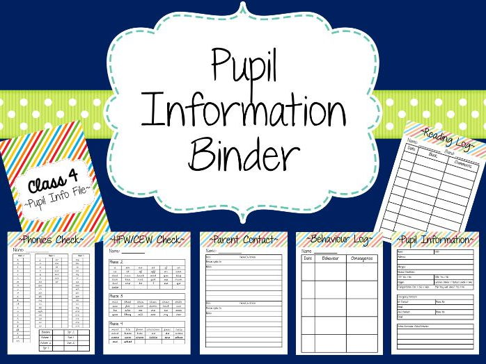 Pupil Information/Reading/Phonics File
